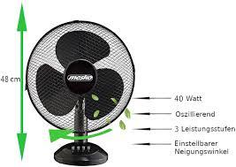 Tischventilator ø 30 Cm 40 Watt Ventilator Rotation Zuschaltbar