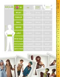 Rubies Costume Size Chart Size Guide Rubies Uk Costume Design Manufacture Uk