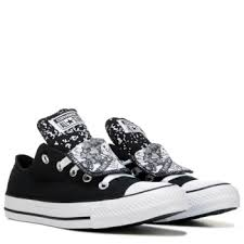 converse black and white. converse chuck taylor all star double tongue low top sneaker black/black/ white black and