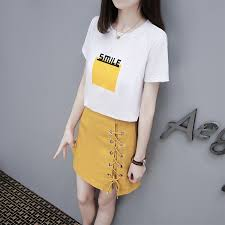 Set student short-sleeved T-shirt female <b>high waist a word</b> half ...