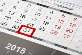2015 Calendar Page Calendar Page With Marked Date Of 31 Of December 2015 Stock Photo