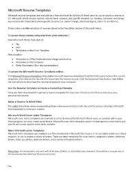 Resume On Microsoft Word Resume Template Microsoft Word Download Free For Curriculum Vitae