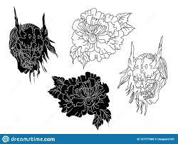 маска Hanya и дизайн хризантемы для стиля татуировки иллюстрация