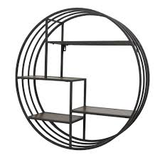 three hands metal wall rack with wood shelves