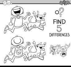 黒と白の漫画イラスト塗り絵の野生動物のキャラクターと子供の違い教育