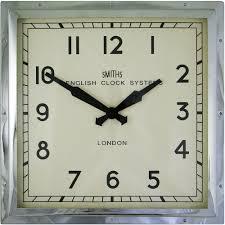 smiths square chrome wall clock 41cm