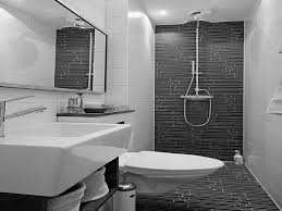 cool black and white bathroom with tile accent plus doorless shower set before vanity for small space idea