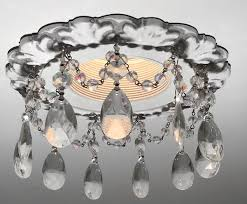 decorative recessed light with floine trime and clear crystal tear drop crystals