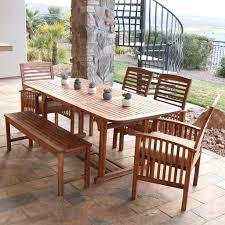 outdoor wood dining furniture. Walker Edison Acacia Wood 6-Piece Patio Dining Set Outdoor Furniture -