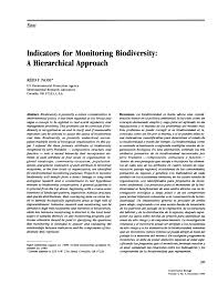 indicators for monitoring biodiversity a hierarchical approach  indicators for monitoring biodiversity a hierarchical approach pdf available
