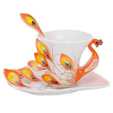 Lebather Vivid Peacock China Porcelain Tea Mug and Saucer Set Coffee Cup  with Spoon, Decorative