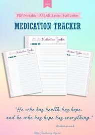 Daily Medication Chart Template Printable Medication Tracker Printable Template Medication Schedule Tracker Medication Chart Log Filofax Medication Reminder Hourly Planner Insert