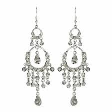 exquisite silver clear crystal chandelier earrings 801