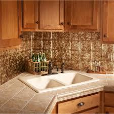 image of copper tin tile backsplash