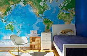 Kids Bedroom Wall Murals Gorgeous Fun Boy's Bedroom With Blue Walls Paint Color Toys R Us World Map