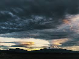 mount shasta as seen from the northern side in the shasta valley