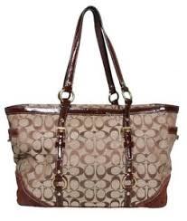 Image is loading COACH-Monogram-Canvas-Tote-Bag