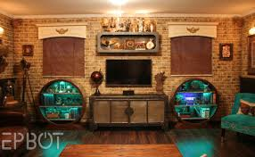 So there you have it: our finally completed main wall of the steampunk room!