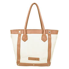 Details About Perfectly Casual Large Helen Kaminski Canvas Tote W Light Brown Leather Trim