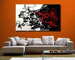 black canvas wall art excellent hand painted large black white and red abstract art throughout