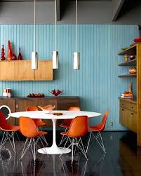 modern dining room color schemes. complementary color scheme: playful meets calm in this orange and teal hued dining space that can handle a lazy saturday morning, whether you\u0027re reading the modern room schemes