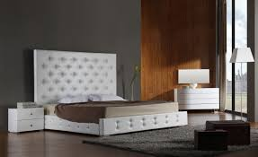 white modern leather platform bed