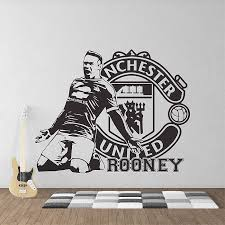 on manchester united wall art with wayne rooney football manchester united vinyl wall art decal