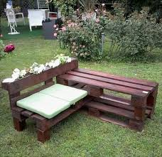 outdoor pallet wood. Creative Idea:Backyard Design With L Shaped Brown Pallet Wood Bench White Sitting Cuhions Outdoor S