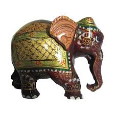 painted elephant statue craft by artist ecraft india wood