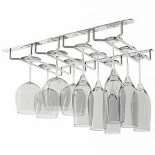 WALLNITURE Under Cabinet Stemware Glass Rack Wine Glasses Chrome Finish  product image