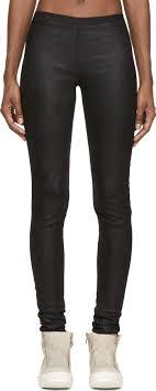 rick owens black stretch leather leggings