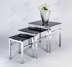 ... Elsa Modern Glass Nest Of Tables Black 3 Lamp Side Coffee Table Set  Living Room Furniture ...