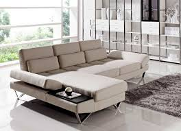 soft fabric sectional sofa with built in end table vg208