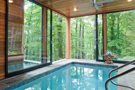 residential indoor lap pool. Indoor Pool With A Private View Of The Surrounding Woodlands Residential Lap S