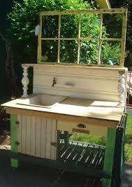 garden sinks. POTTING BENCH W/ Porcelain Enamel, Antique, Fully-plumbed, Iron Sink, Wainscot Beadboard Counter Top, Cabinet, Drawer, \u0026 Stainless Castors Garden Sinks S
