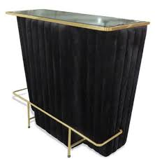 Casa Padrino Luxury Bar Counter Black Gold 120 X 48 X H 105 Cm Bar Counter With Glass Top And Foot Rest Bar Cabinet Bar Furniture Luxury