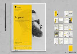 Business Proposal Layout With Yellow And Gray Accents Buy