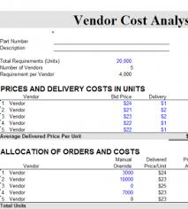 Cost Chart Template Vendor Cost Analysis Chart My Excel Templates