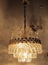 vnt french pretty basket style real bohemian crystal chandelier 1960 s 13in dmt