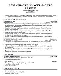 resume for restaurants restaurant manager resume format assistant management executive cv