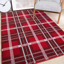 red silver traditional tartan living room rugs soft warm check modern area rug