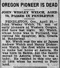 John Wesley Welch Obituary - Newspapers.com
