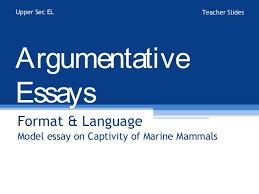 a model argumentative essay argumentative essays format language model essay on captivity of marine mammals upper sec el teacher