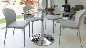 modern round glass table chrome pedestal 4 seater