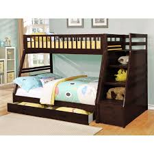 dark brown wooden bunk wayfair beds frame with storage and stair for bedroom furniture idea