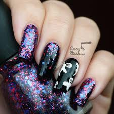 Halloween Ghosts & Glitter Gradient Nail Art - Lucy's Stash
