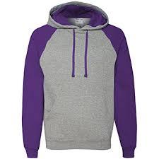 Jerzees Nublend Color Block Raglan Hooded Sweatshirt Oxford Deep Purple Large