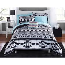 large size of mainstays tribal black and white bed in a bag bedding set com