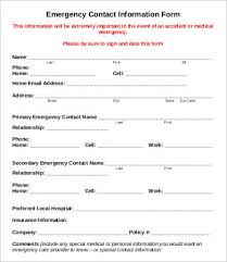 Emergancy Contact Sheet Student Emergency Contact Form Template 11 Emergency Contact Forms