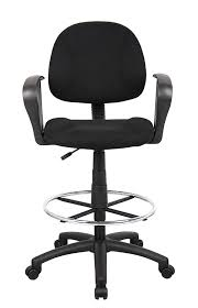 com boss office s b1617 bk ergonomic works drafting chair with loop arms in black kitchen dining